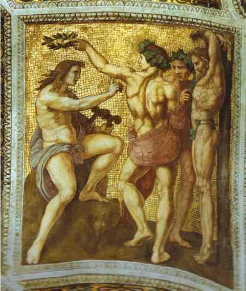 Oil painting:Apollo and Marsyas (ceiling panel). 1509