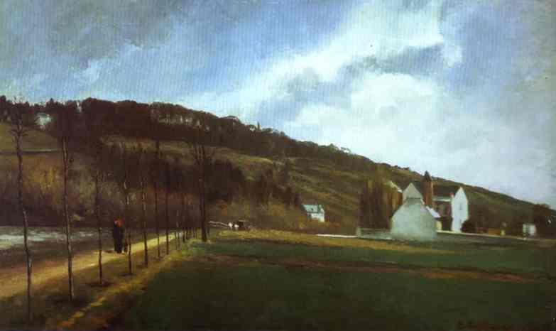 Oil painting:Bords de la Marne en hiver. 1866