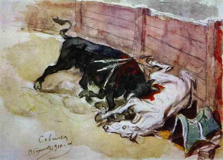 Oil painting:Bull Battle. Seville. 1910