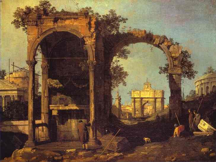 Oil painting:Capriccio: Ruins and Classic Buildings. 1730