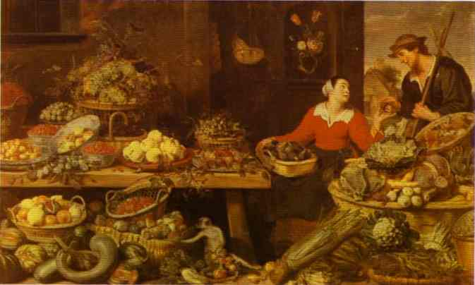 Oil painting:Fruit and Vegetable Stall
