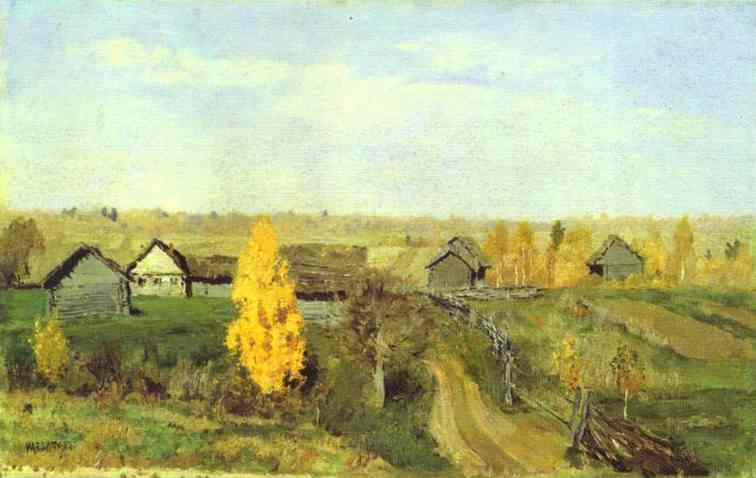 Oil painting:Golden Autumn. Village. 1889