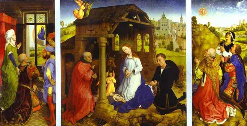 Oil painting:Middelburg Altarpiece. Interior. c.1445