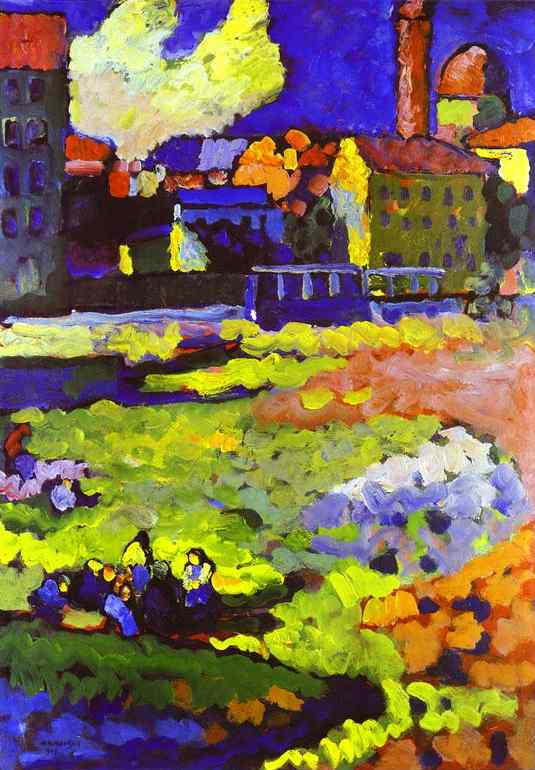 Oil painting:Munich-Schwabing with the Church of St. Ursula. 1908