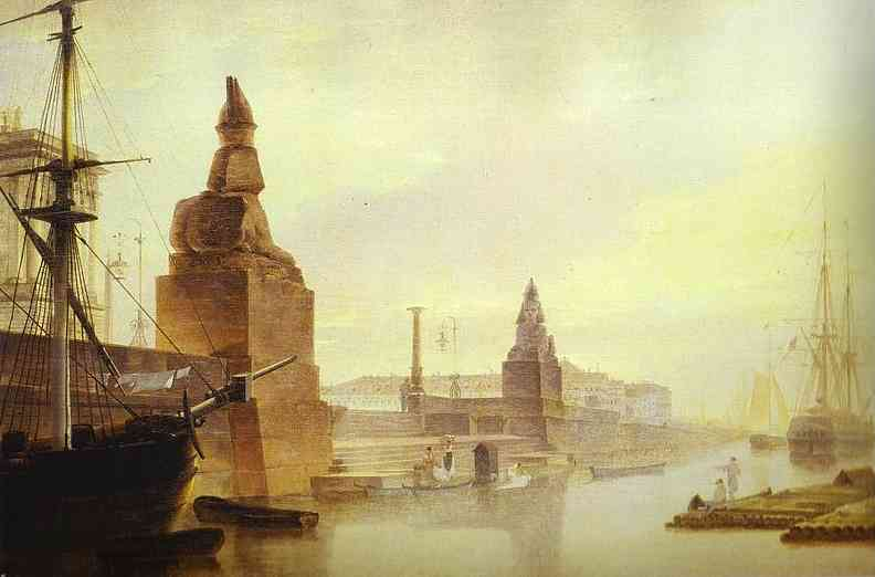Oil painting:Neva Embankment near the Academy of Arts. 1835