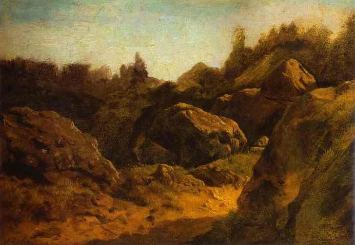 Oil painting:On Valaam. Rocks. 1867