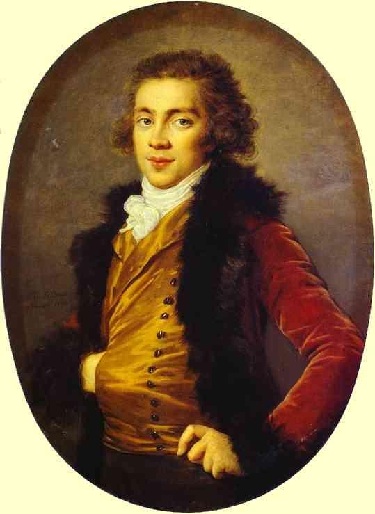 Oil painting:Portrait of Baron Grigory Alexandrovich Stroganoff (1770-1857). 1793.