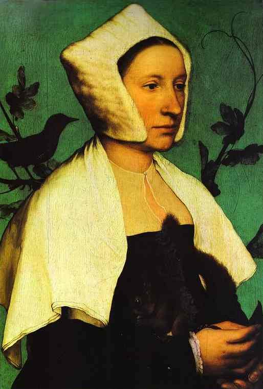Oil painting:Portrait of Unknown Lady with a Squirrel and Starling. c. 1528