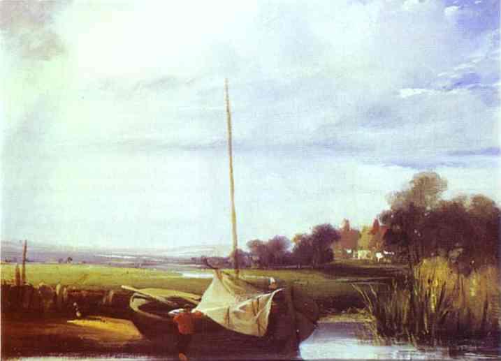 Oil painting:River Scene in France. 1824-1825