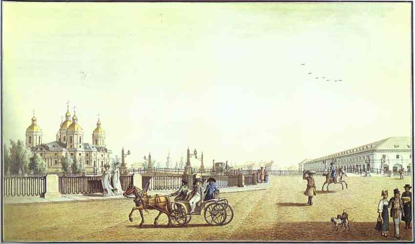 Oil painting:Sadovaya Street by the Nikolsky Market. 1800