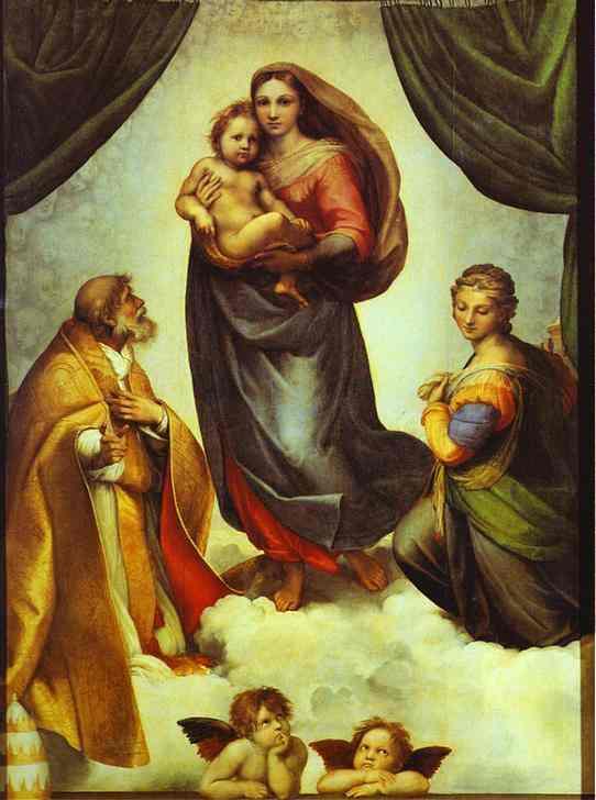 Oil painting:Sistine Madonna. c.1513