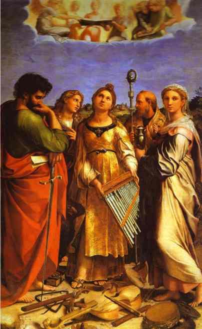 Oil painting:St. Cecilia with Saints. c. 1514