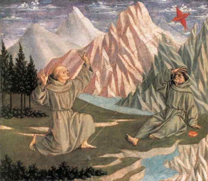 Oil painting:St. Francis Receiving the Stigmata. c. 1445