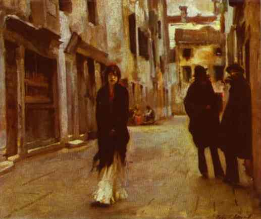 Oil painting:Street in Venice. 1882