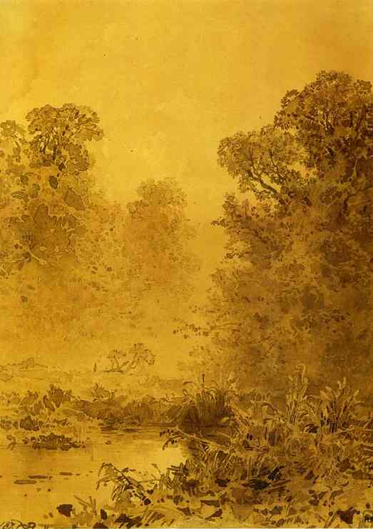 Oil painting:Swamp in a Forest. Mist. 1873