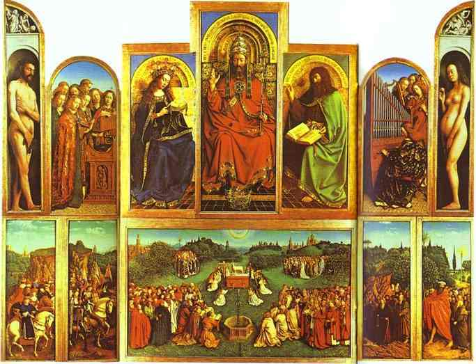 Oil painting:The Ghent Altarpiece with altar wings open. 1432