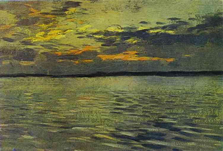 Oil painting:The Lake. Eventide. 1890