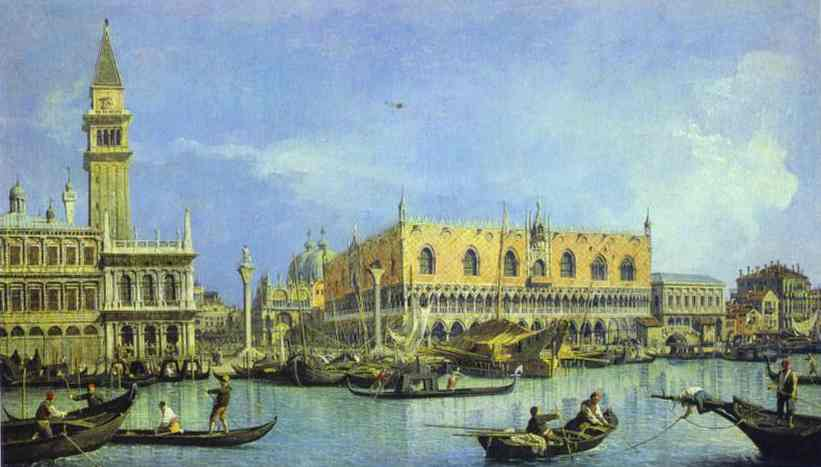 Oil painting:The Molo, Seen from the Basin of San Marco.