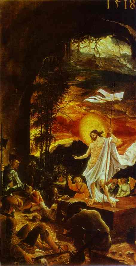 Oil painting:The Resurrection of Christ (panel from the St. Florian altar). c.1515