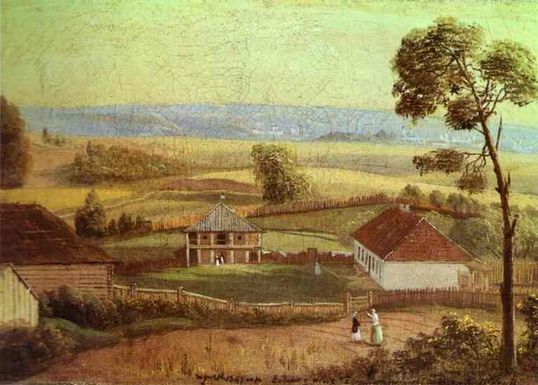 Oil painting:View in Estate Zhirovitse. 1847