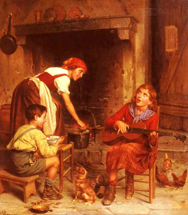 Oil painting for sale:Serenading the Family