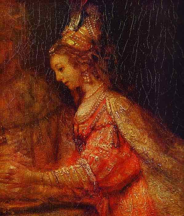 Esther. Detail of Assuerus, Haman and Esther. 1660