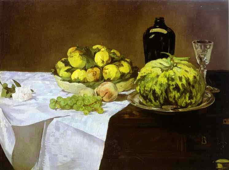 Still Life with Melon and Peaches. c.1866