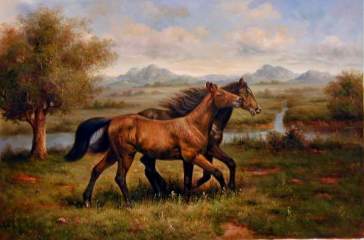 Oil painting for sale:horses-005