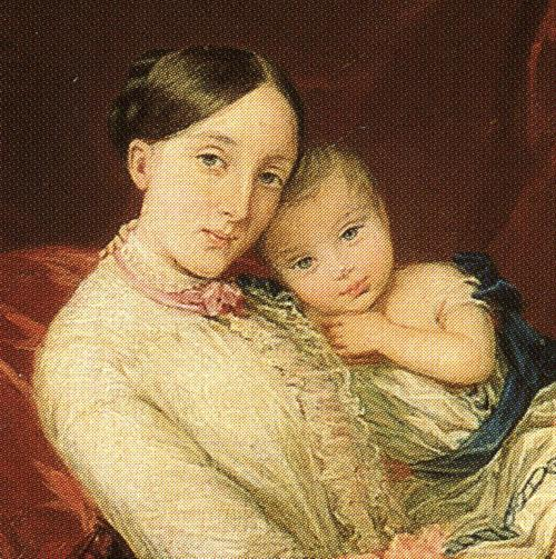 Oil painting:Grand Duchess Maria Nikolaevna with Her Children. Detail. 1849