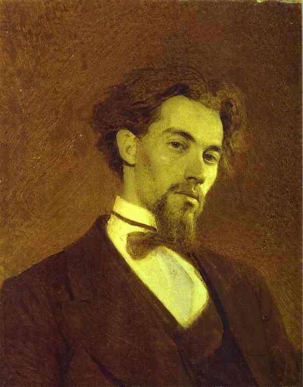 Oil painting:Portrait of the Artist Konstantin Savitsky. 1871