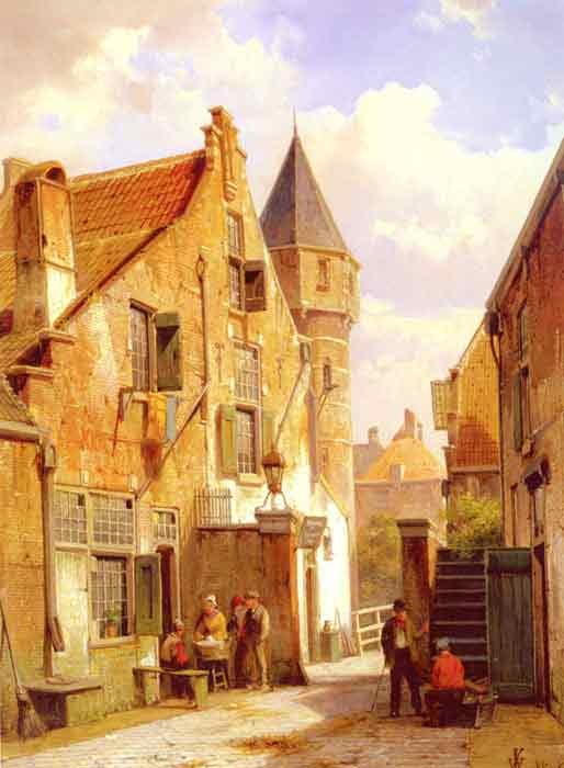 Oil painting for sale:A Street Scene in Leiden