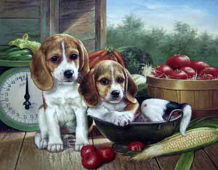 Oil painting for sale:dogs-045