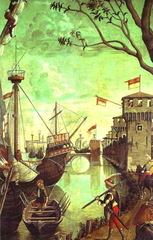 Oil painting:The Legend of St. Ursula: Arrival in Cologne. Detail. 1490
