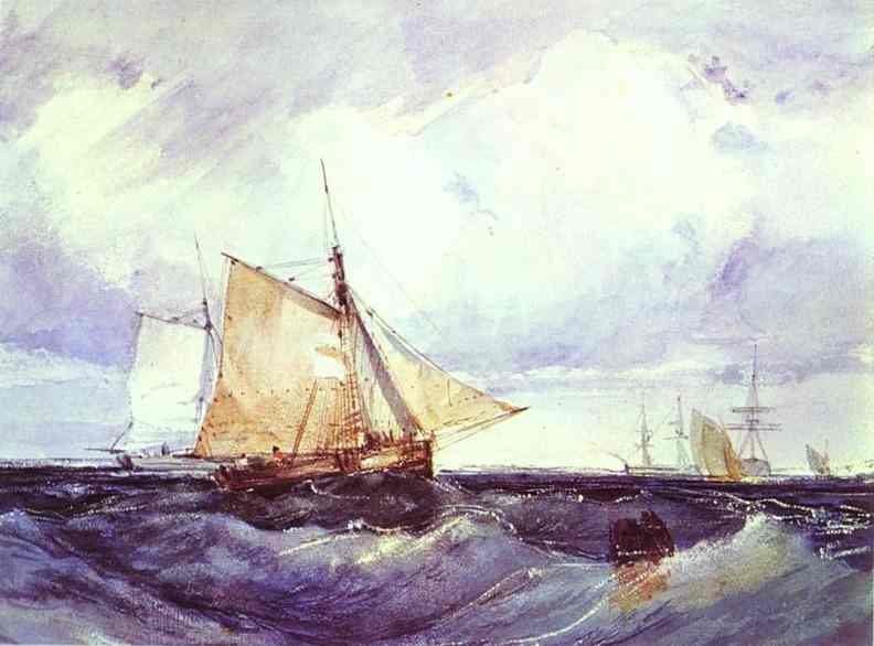 Oil painting:A Cutter and Other Shipping in a Breeze. 1827