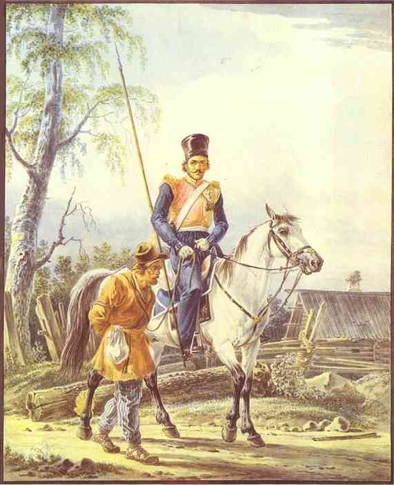 Oil painting:A Mounted Cossack Escorting a Peasant. 1820