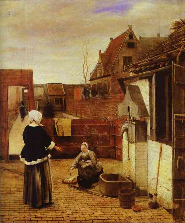 Oil painting:A Woman and Her Maid in a Courtyard.