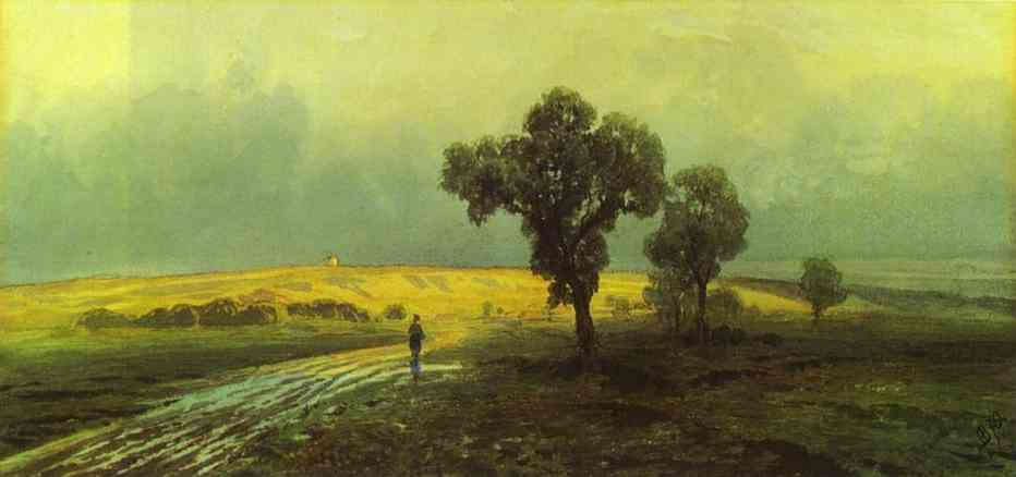 Oil painting:After a Heavy Rain. 1870