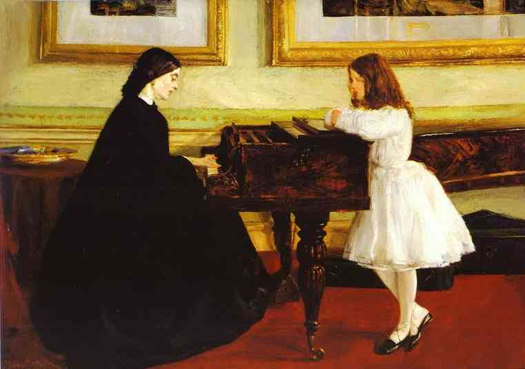 Oil painting:At the Piano. 1858