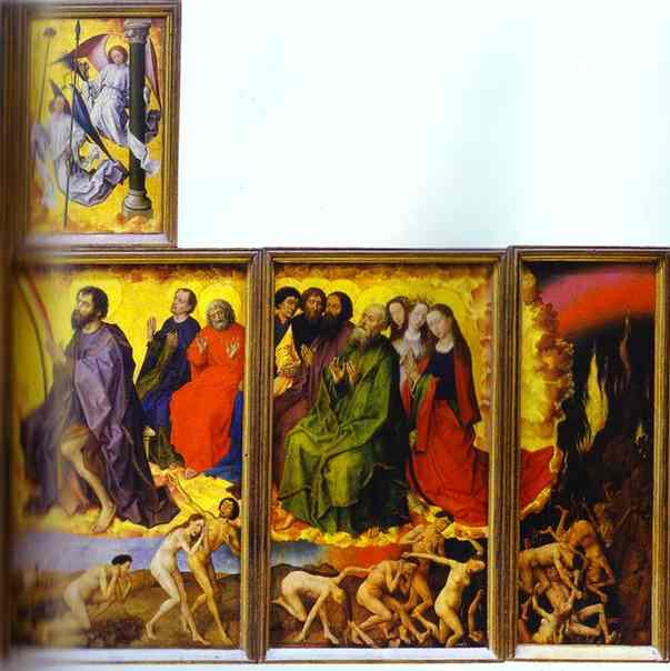 Oil painting:Beaune Altarpiece, interior showing the Last Judgment. c.1450