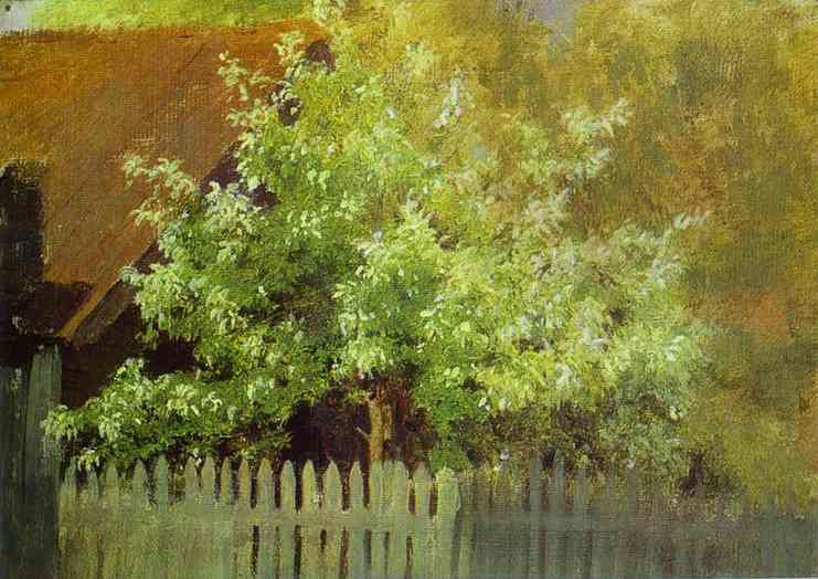 Oil painting:Bird-Cherry Tree. Early 1880