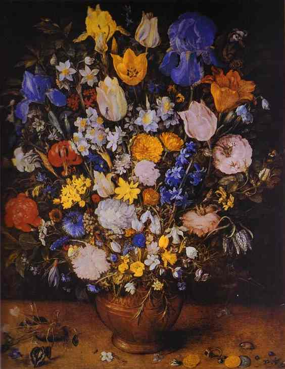 Oil painting:Bouquet in a Clay Vase. c. 1599