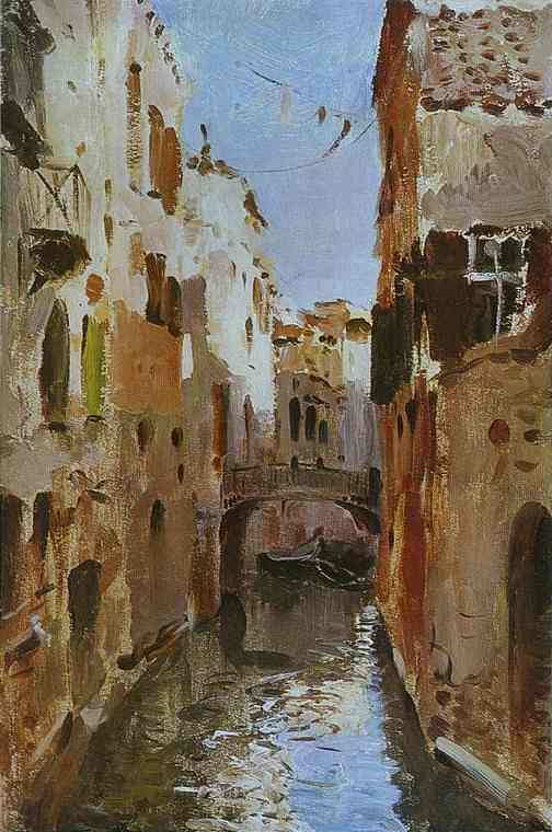 Oil painting:Canal in Venice. Sketch. 1890
