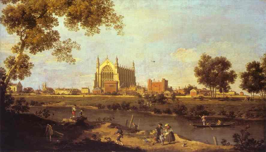 Oil painting:Eton College Chapel. c. 1754