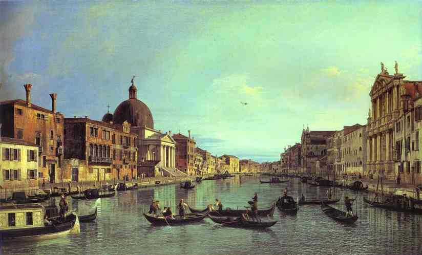Oil painting:Grand Canal: Looking South-West from the Chiesa degli Scalzi to the Fondamenta della