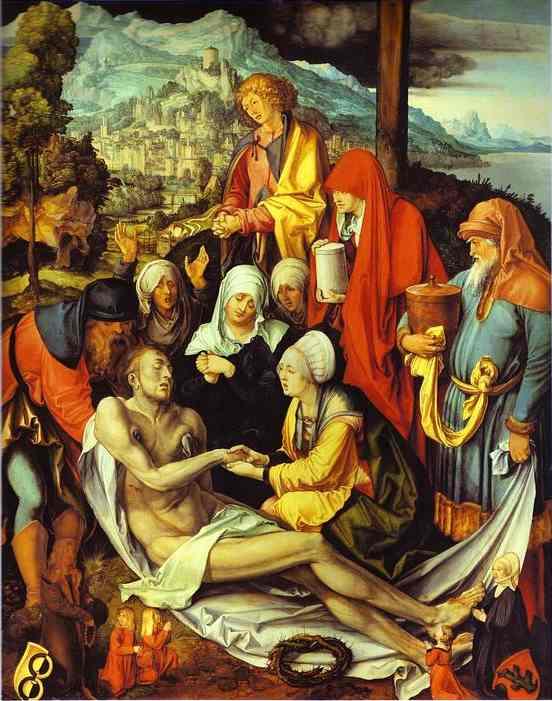 Oil painting:Lamentation for Christ. c.1500