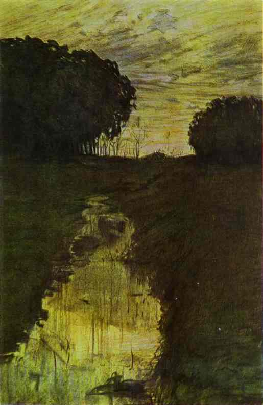 Oil painting:Landscape in the Evening. Martyshkino. 1896