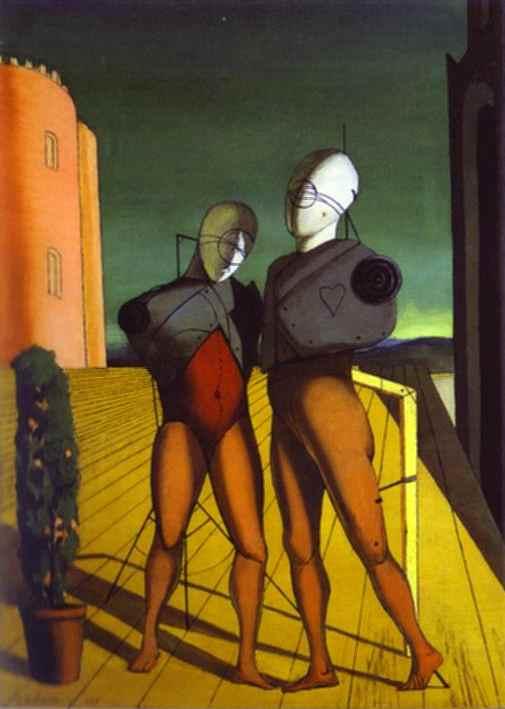 Oil painting:Le Duo (Les Mannequins de la tour rosel). 1915