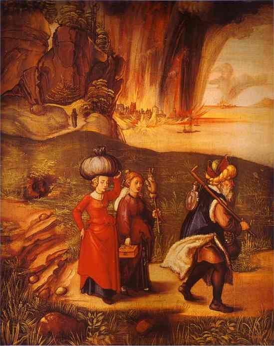 Oil painting:Lot Fleeing with His Daughters from Sodom. c.1498