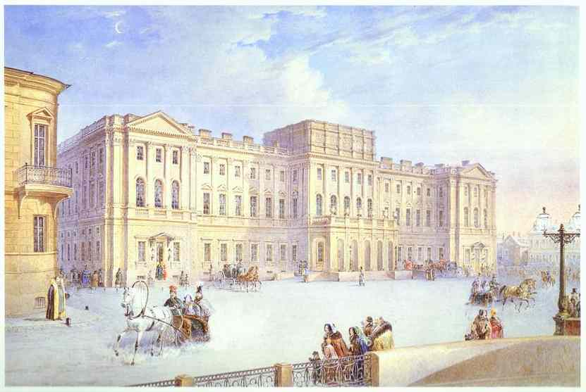 Oil painting:Mariinsky Palace as Seen from the Blue Bridge. c. 1847