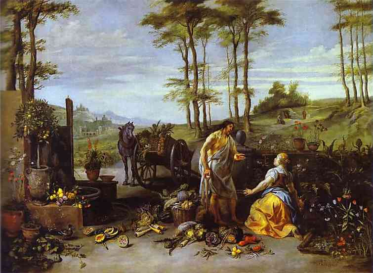 Oil painting:Noli me tangere. c. 1630